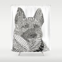 german shepherd Shower Curtains featuring German Shepherd by DiAnne Ferrer