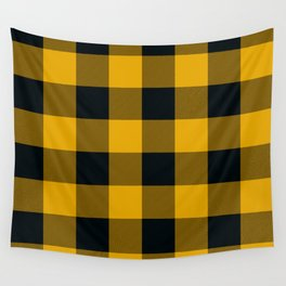 Yellow & Black Buffalo Plaid Wall Tapestry