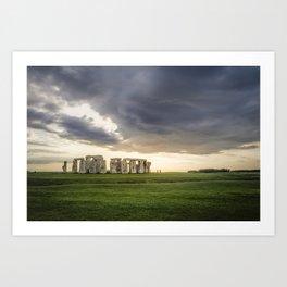 Sunset on Stonehenge Art Print