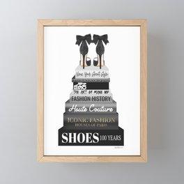Fashion books with High heels in black & white by Amanda Greenwood Framed Mini Art Print
