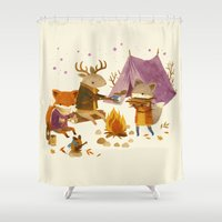 fall Shower Curtains featuring Critters: Fall Camping by Teagan White