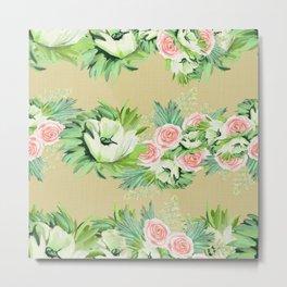 Whimsical vintage floral Metal Print