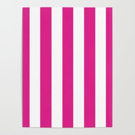Barbie Pink (Pantone) - solid color - white vertical lines pattern Poster