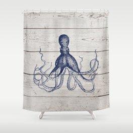 Navy Blue Deep Ocean Giant Squid On Barnboard Shower Curtain