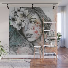 Mascara (expressive female portrait with freesias) Wall Mural
