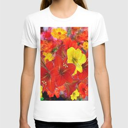 DECORATIVE RED-YELLOW AMARYLLIS BOUQUET T-shirt