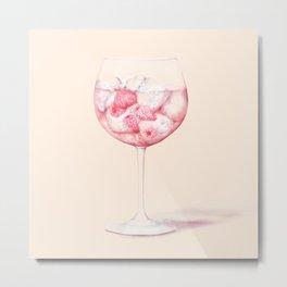 Pink Gin Watercolour Metal Print