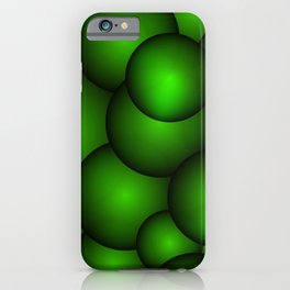 Background from green molecules and balls. iPhone Case