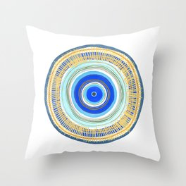 Turquoise Evil Eye Mandala Throw Pillow