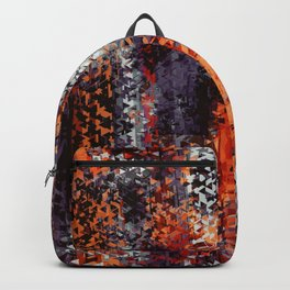 psychedelic geometric polygon shape pattern abstract in black orange brown red Backpack