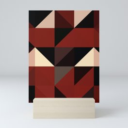 Red Black Block Pattern Abstract Mini Art Print