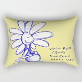 """Warm Food Means Someone Loves You"" Flowerkid Rectangular Pillow"