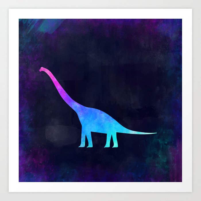 BRACHIOSAURUS IN SPACE // Animal Graphic Art // Watercolor Canvas Painting // Modern Minimal Cute Art Print