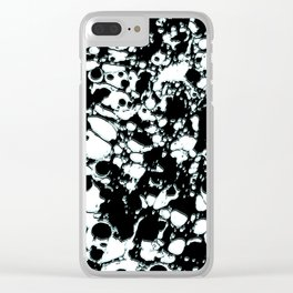 Black and White ink paint spill graphic mint green lines Clear iPhone Case