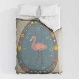 Festive Easter Egg with Cute Flamingo Bird Comforters