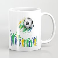 world cup Mugs featuring World Cup Fever by Robin Curtiss