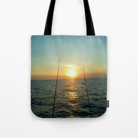 fishing Tote Bags featuring FISHING by aztosaha