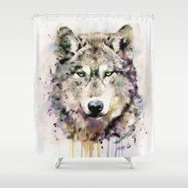 Wolf Head Watercolor Portrait Shower Curtain