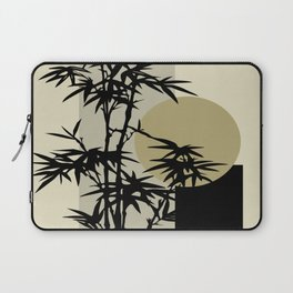 Bamboo on Beige, Gold & Gray Abstract | Saletta Home Decor Laptop Sleeve