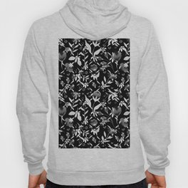Colourscape Summer Floral Pattern Black and White Hoody