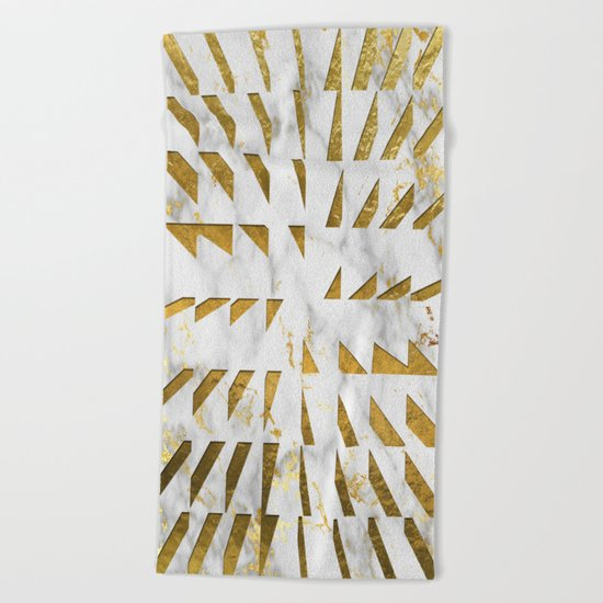 Marble and Gold Pattern #4 Beach Towel
