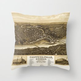 Aerial View of Chippewa Falls, Wisonsin (1907) Throw Pillow