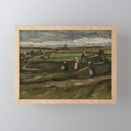 """Vincent van Gogh - Women mending nets in the Dunes (1882) also known as """"Landscape with Net Menders"""" Framed Mini Art Print"""