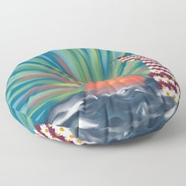 Floral Mermaid With Ocean Sunset Floor Pillow