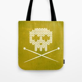Knitted Skull (White on Yellow) Tote Bag