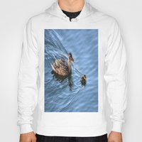 swimming Hoodies featuring Swimming Lesson by Judy Palkimas