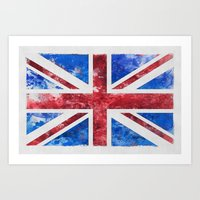 union jack Art Prints featuring Union Jack by LebensART