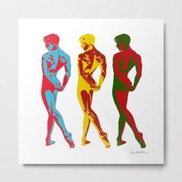 Three Nude Male Dancers Metal Print