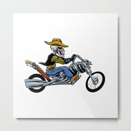 skull ride a big motorcycle Metal Print