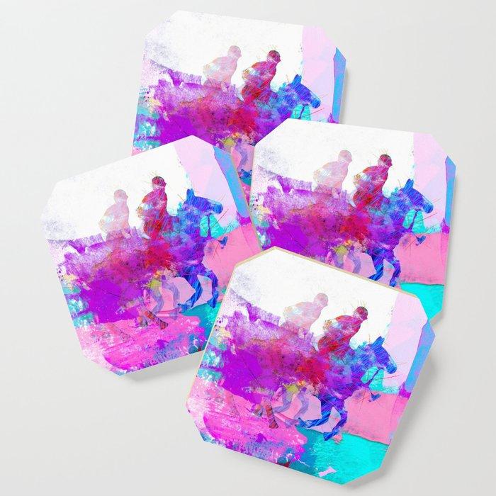 poloplayer abstract redblue Coaster