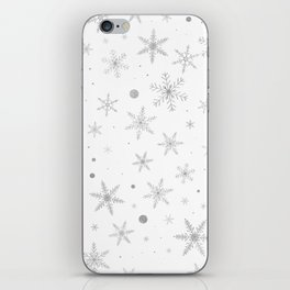 Twinkle Snowflake -Silver Grey & White- iPhone Skin