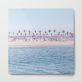 Vintage Newport Beach Print {3 of 4} | Photography Ocean Palm Trees Cool Blue Tropical Summer Sky Metal Print
