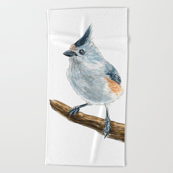 Titmouse bird watercolor Beach Towel