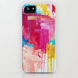 ELATED - Beautiful Bright Colorful Modern Abstract Painting Wild Rainbow Pastel Pink Color iPhone Case