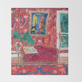 Red Interior with Lion and Tiger after Matisse Throw Blanket