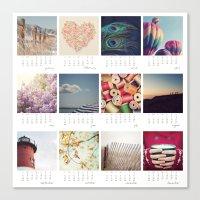 calendar Canvas Prints featuring 2013 calendar by shannonblue