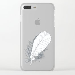 White Feather on Grey Background Illustration Clear iPhone Case