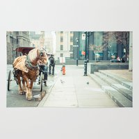 montreal Area & Throw Rugs featuring Montreal Taxi by Andy Wright