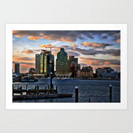 Baltimore skyline at dusk from waterfront Art Print