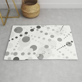 Black and gray circles on white background Rug