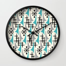 Mid Century Modern Atomic Wing Composition Blue & Grey Wall Clock