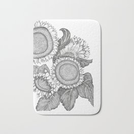 Sunflowers Black and White Ink Drawing Bath Mat