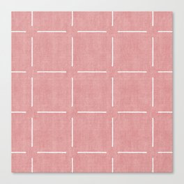 Block Print Simple Squares in Coral Canvas Print