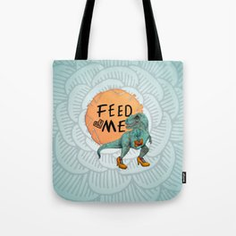 Hungry Date - Lady T-Rex in Teal Tote Bag