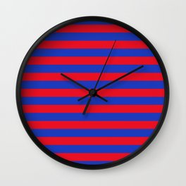 Blue and Red Stripes Wall Clock