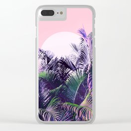 Jungle Sunrise - Ultra violet, green, pink and purple Clear iPhone Case